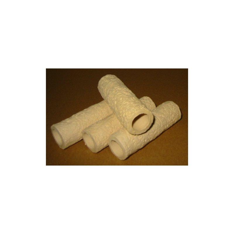 Garnelen / Krebsröhre ca. 7 cm creme mit Muster