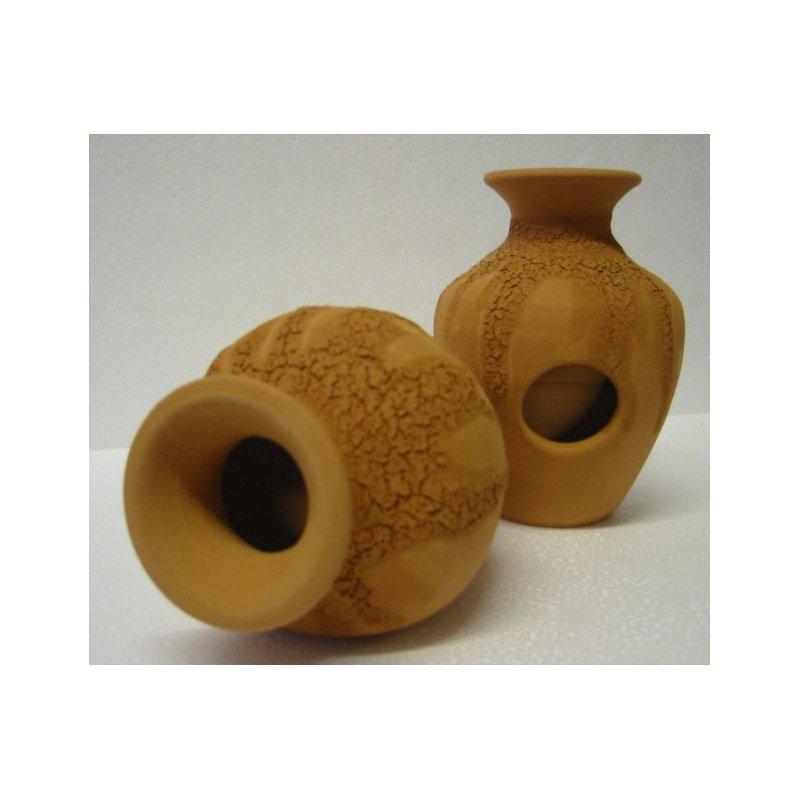 Vase mit 2 Eingängen in terra mit Muster