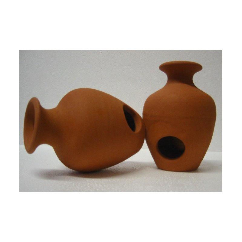 Vase mit 2 Eingängen in terra